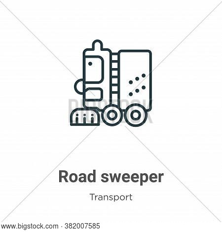Road sweeper icon isolated on white background from transport collection. Road sweeper icon trendy a
