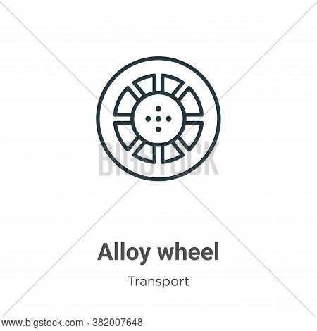 Alloy wheel icon isolated on white background from transport collection. Alloy wheel icon trendy and