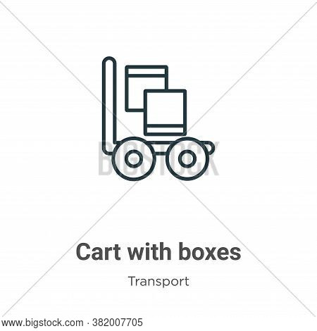 Cart with boxes icon isolated on white background from transport collection. Cart with boxes icon tr