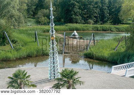 Berlin, Germany- July 30, 2020: Sun Dial And Lake At Britzer Garten