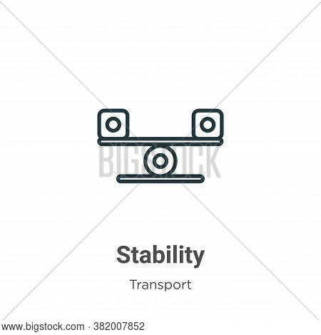 Stability icon isolated on white background from transport collection. Stability icon trendy and mod