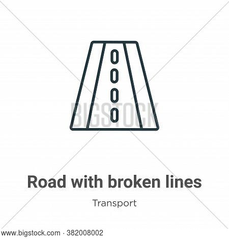 Road with broken lines icon isolated on white background from transport collection. Road with broken