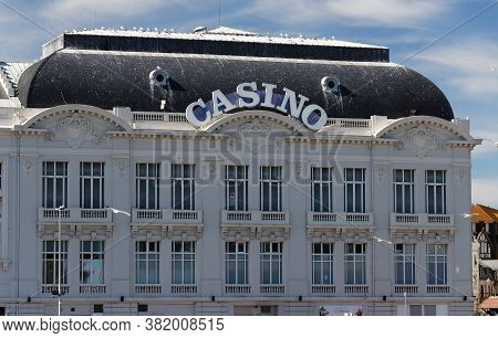Trouville, Normandy, France - August 07, 2020 : Casino Barriere In Trouville Sur Mer Town, France. T
