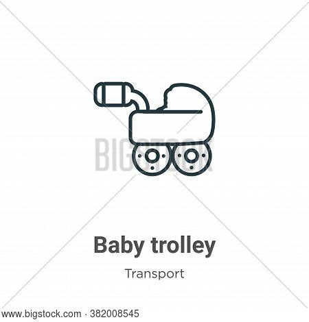 Baby trolley icon isolated on white background from transport collection. Baby trolley icon trendy a