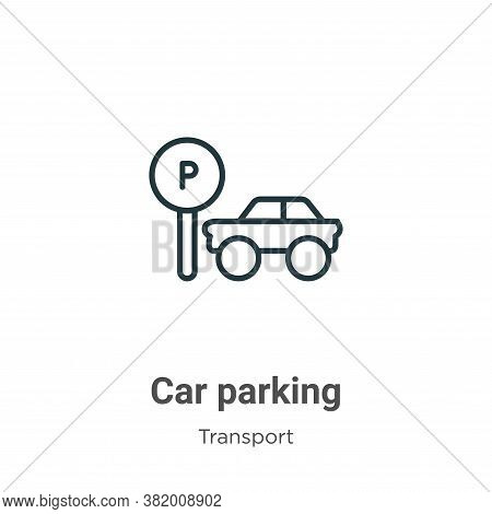 Car parking icon isolated on white background from transport collection. Car parking icon trendy and