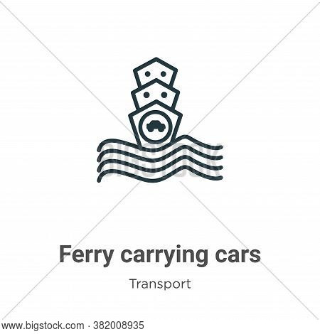 Ferry carrying cars icon isolated on white background from transport collection. Ferry carrying cars