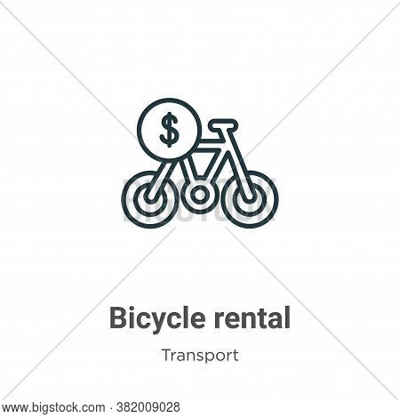 Bicycle rental icon isolated on white background from transport collection. Bicycle rental icon tren