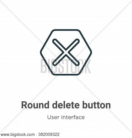 Round delete button icon isolated on white background from user interface collection. Round delete b