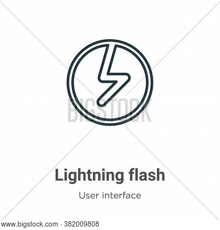 Lightning flash icon isolated on white background from user interface collection. Lightning flash ic