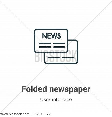 Folded newspaper icon isolated on white background from user interface collection. Folded newspaper