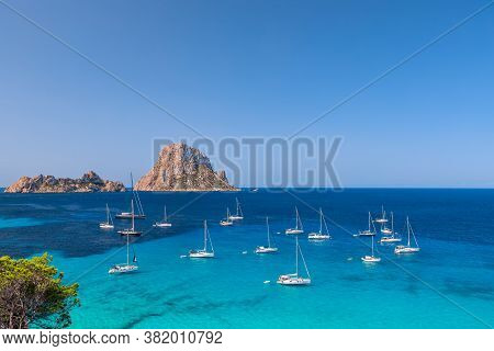 Beautiful View Of The Mysterious Island Of Es Vedra. Ibiza, Balearic Islands. Spain