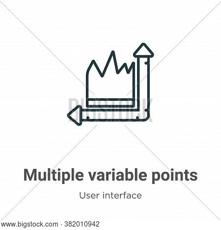 Multiple variable points line chart icon isolated on white background from user interface collection