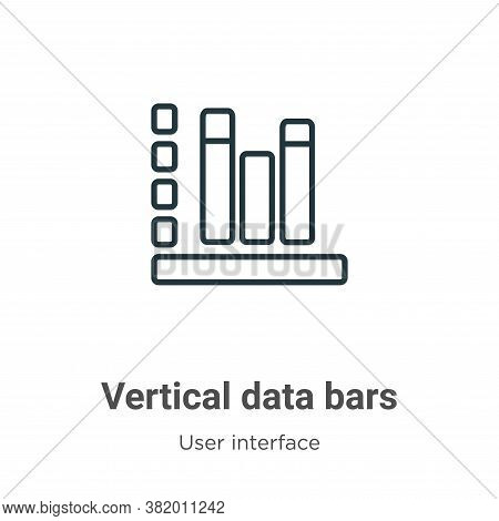 Vertical data bars icon isolated on white background from user interface collection. Vertical data b