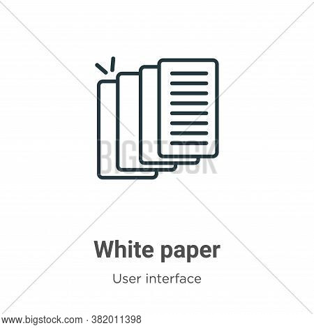 White paper icon isolated on white background from user interface collection. White paper icon trend