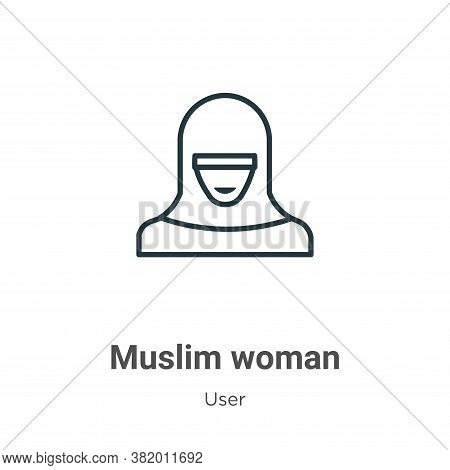 Muslim woman icon isolated on white background from user collection. Muslim woman icon trendy and mo
