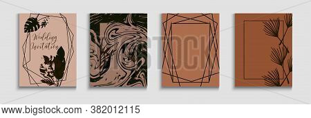 Abstract Trendy Vector Banners Set. Geometric Frame Texture. Tie-dye, Tropical Leaves Cards. Hand Dr