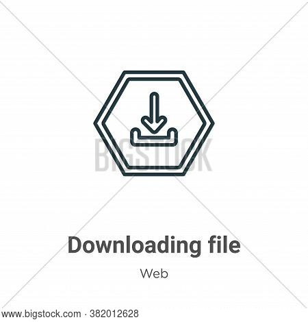 Downloading file icon isolated on white background from web collection. Downloading file icon trendy