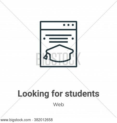 Looking for students icon isolated on white background from web collection. Looking for students ico