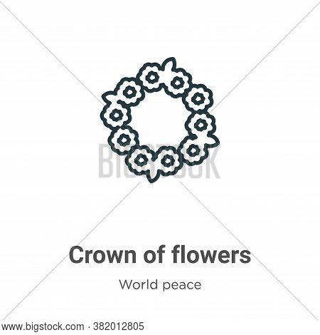 Crown of flowers icon isolated on white background from world peace collection. Crown of flowers ico