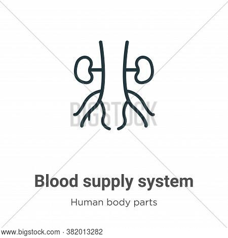 Blood supply system icon isolated on white background from human body parts collection. Blood supply