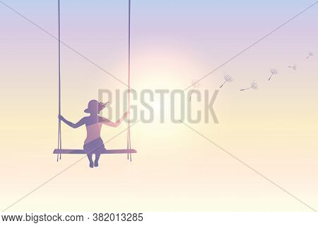 Girl On A Swing With Dandelion Seeds In Sunny Sky Vector Illustration Eps10
