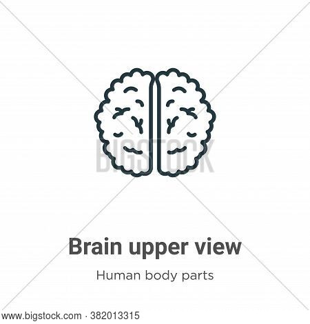 Brain upper view icon isolated on white background from human body parts collection. Brain upper vie
