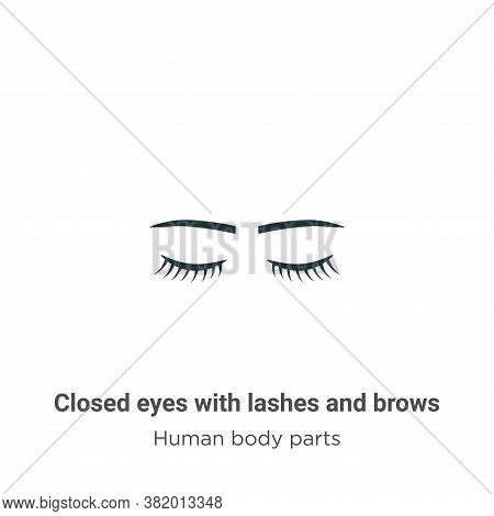 Closed Eyes With Lashes And Brows Icon From Human Body Parts Collection Isolated On White Background