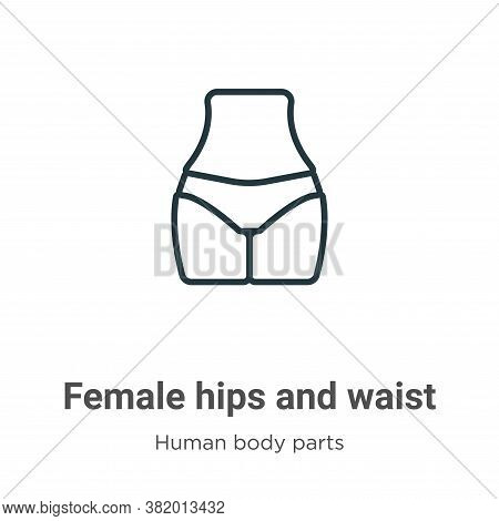 Female hips and waist icon isolated on white background from human body parts collection. Female hip