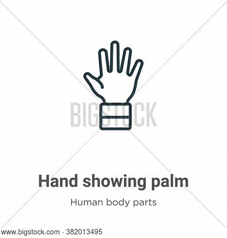 Hand showing palm icon isolated on white background from human body parts collection. Hand showing p