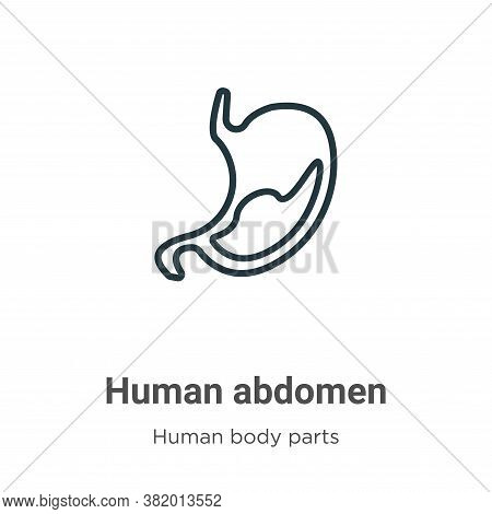 Human Abdomen Icon From Human Body Parts Collection Isolated On White Background.