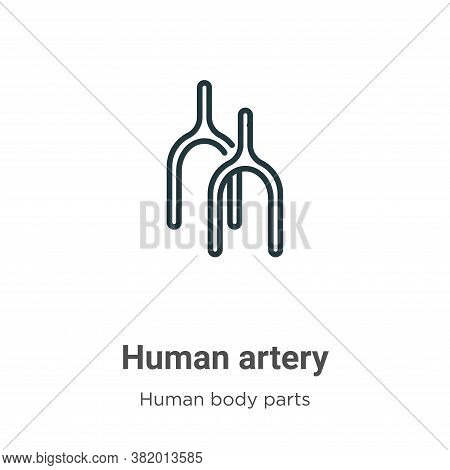 Human artery icon isolated on white background from human body parts collection. Human artery icon t