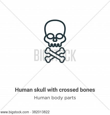Human skull with crossed bones icon isolated on white background from human body parts collection. H