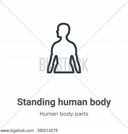 Standing human body icon isolated on white background from human body parts collection. Standing hum
