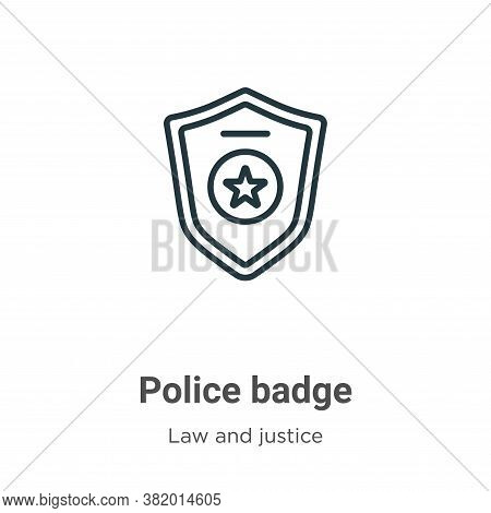 Police badge icon isolated on white background from law and justice collection. Police badge icon tr