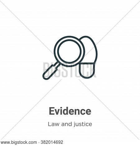 Evidence icon isolated on white background from law and justice collection. Evidence icon trendy and