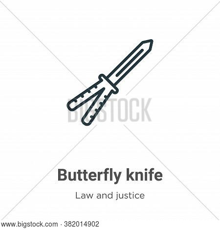 Butterfly knife icon isolated on white background from law and justice collection. Butterfly knife i