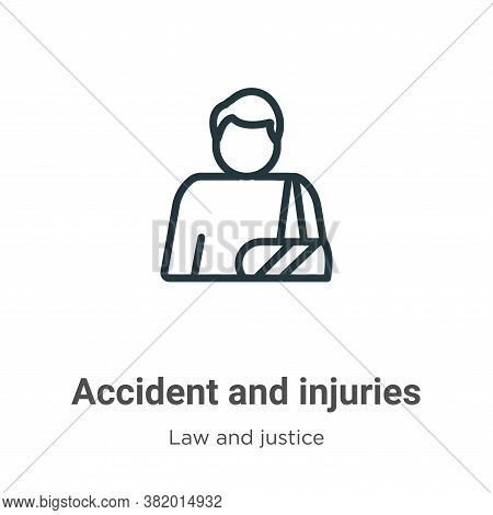 Accident and injuries icon isolated on white background from law and justice collection. Accident an