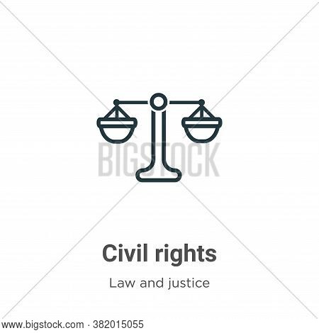Civil Rights Icon From Law And Justice Collection Isolated On White Background.