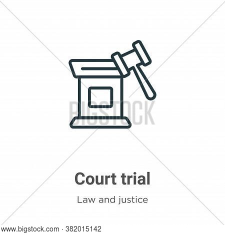 Court trial icon isolated on white background from law and justice collection. Court trial icon tren