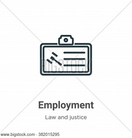 Employment icon isolated on white background from law and justice collection. Employment icon trendy