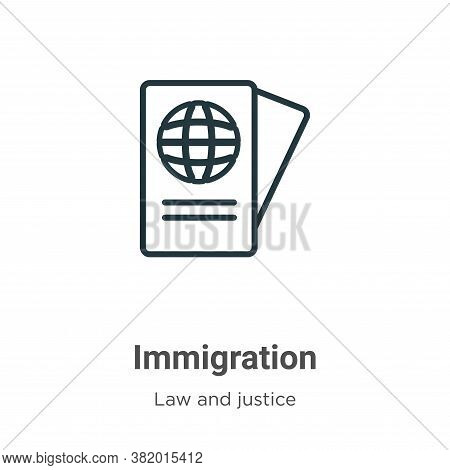 Immigration icon isolated on white background from law and justice collection. Immigration icon tren