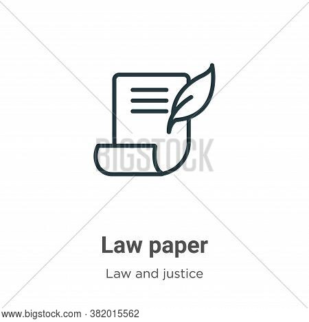 Law paper icon isolated on white background from law and justice collection. Law paper icon trendy a