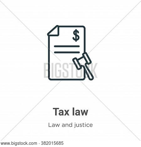 Tax law icon isolated on white background from law and justice collection. Tax law icon trendy and m