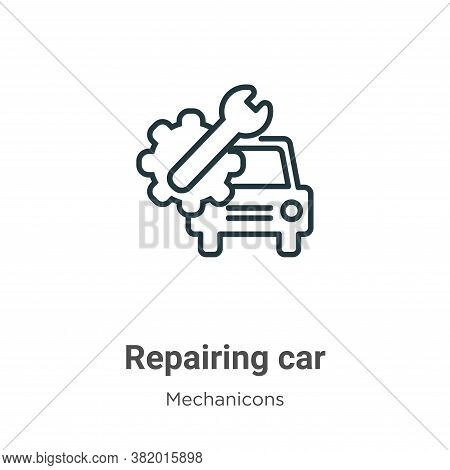 Repairing car icon isolated on white background from mechanicons collection. Repairing car icon tren