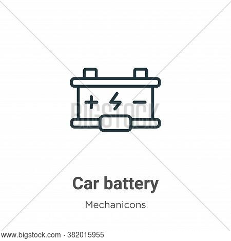 Car battery icon isolated on white background from mechanicons collection. Car battery icon trendy a
