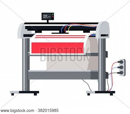 Professional Equipment For Advertising Agency Concept. Large Format Plotter Machine, Printer Isolate