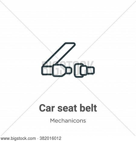 Car seat belt icon isolated on white background from mechanicons collection. Car seat belt icon tren