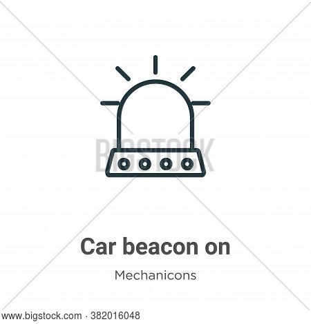 Car beacon on icon isolated on white background from mechanicons collection. Car beacon on icon tren