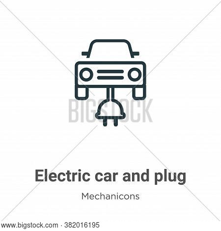 Electric car and plug icon isolated on white background from mechanicons collection. Electric car an