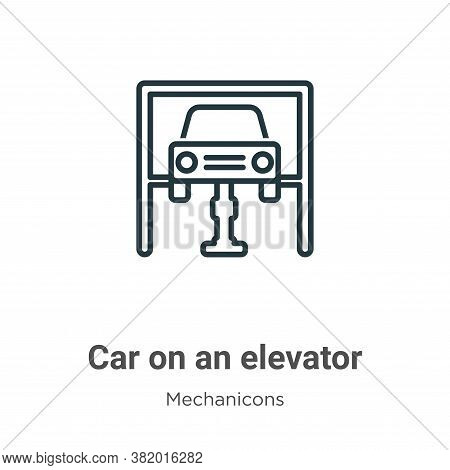 Car on an elevator icon isolated on white background from mechanicons collection. Car on an elevator